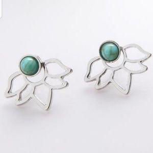 Silver Hollow lotus flower earrings
